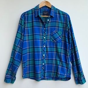 American Eagle Button Down Flannel Blue Size Large